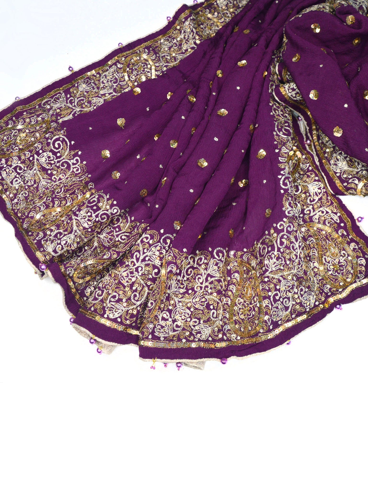 Purple embroidered wedding shawl.