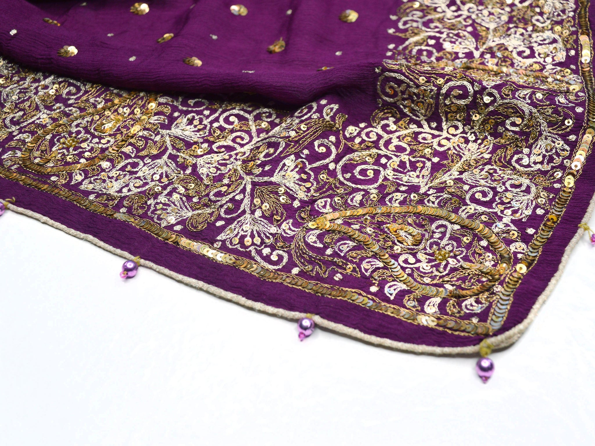 Purple seqin bohemian indian wedding shawl