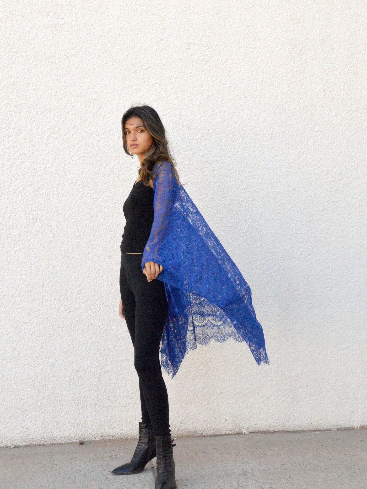 bohemian bridal jacket in cobalt blue lace