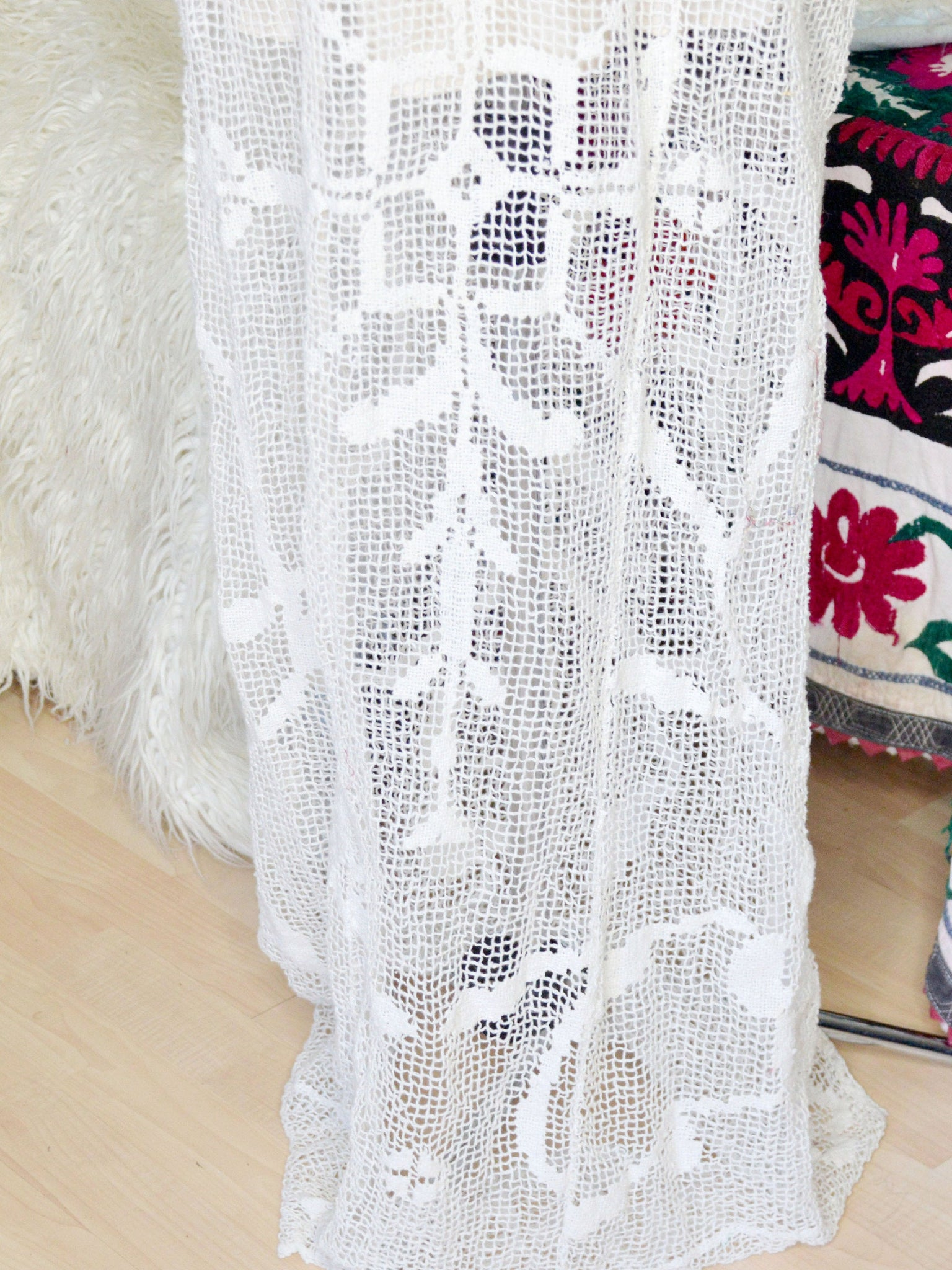 White crochet wedding gown.