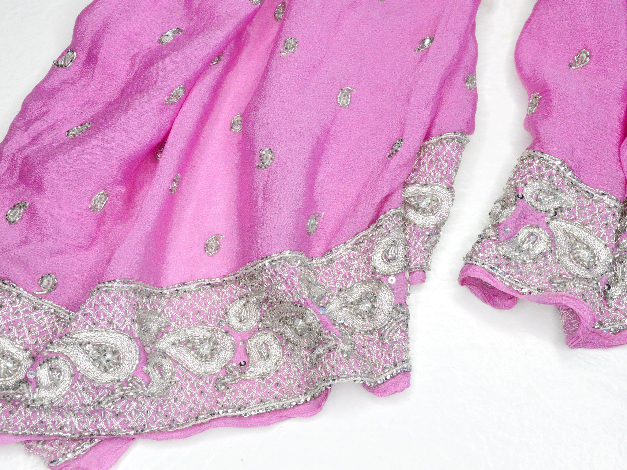 pink wedding shawl with silver embroidery