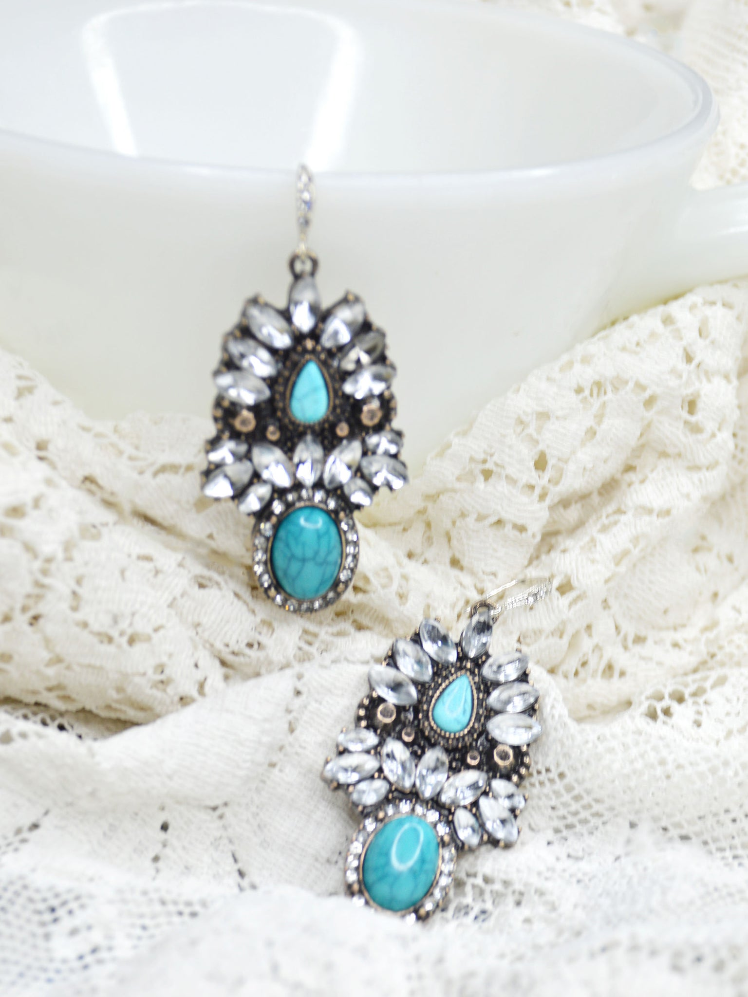 turquoise, silver, cubic zirconia, rhinestone wedding earrings