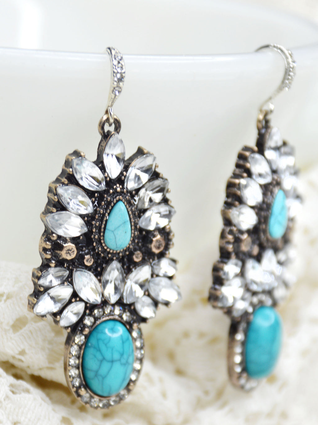 southwest wedding earrings turquoise and silver with crystals