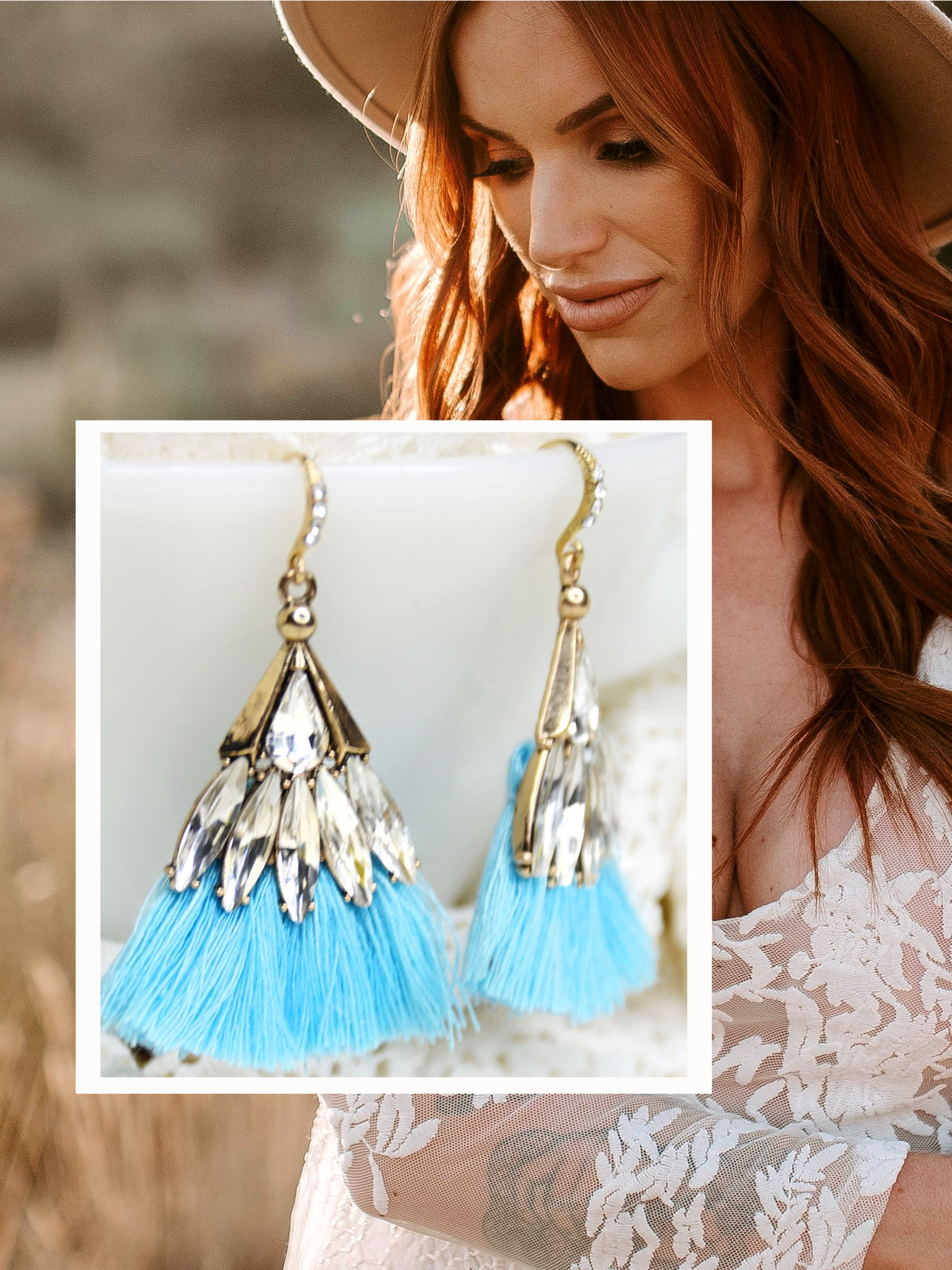 Montage of beautiful bohemian bride with gold and blue geometric tassel earrings with rhinestone crystals.