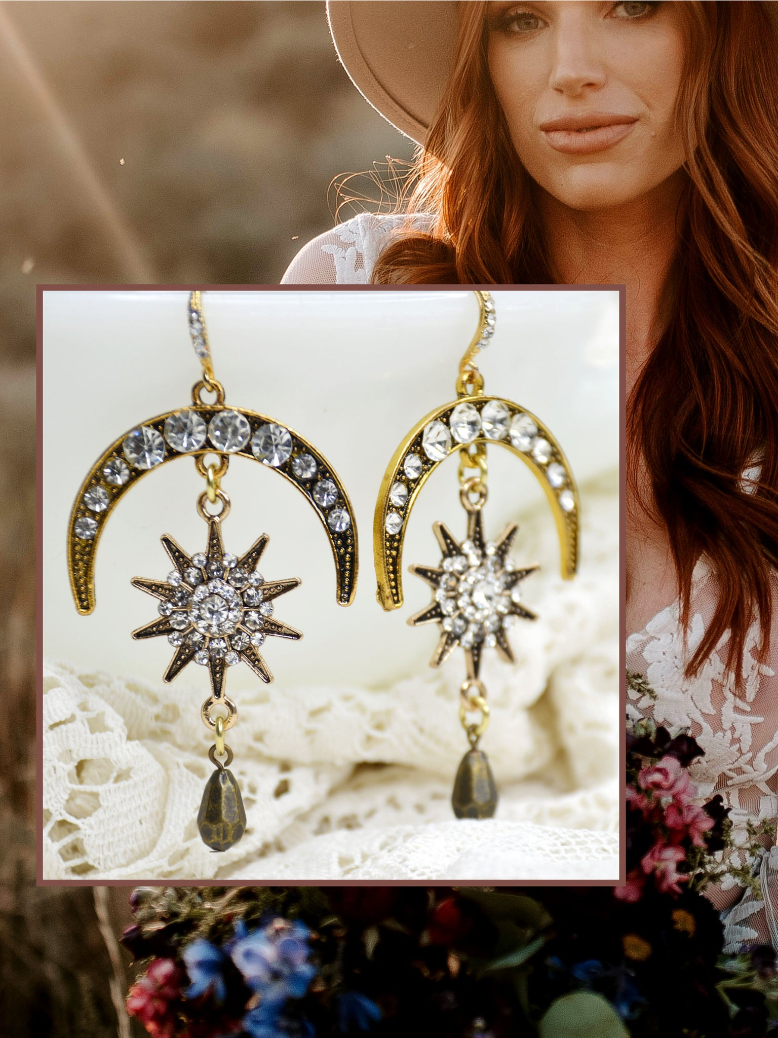 bohemian bridal jewelry stars and moons