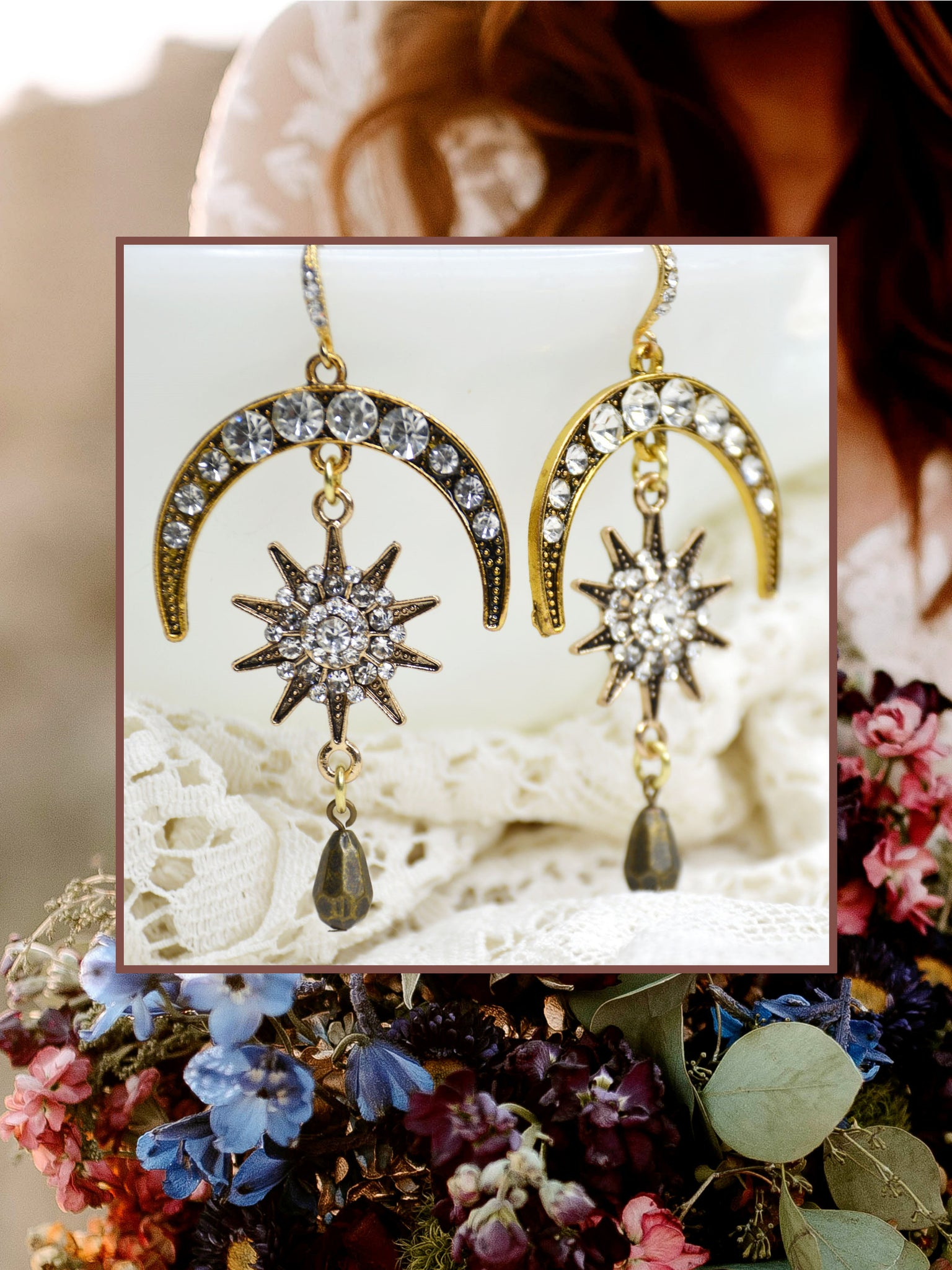 gold celestial drop earrings for bride
