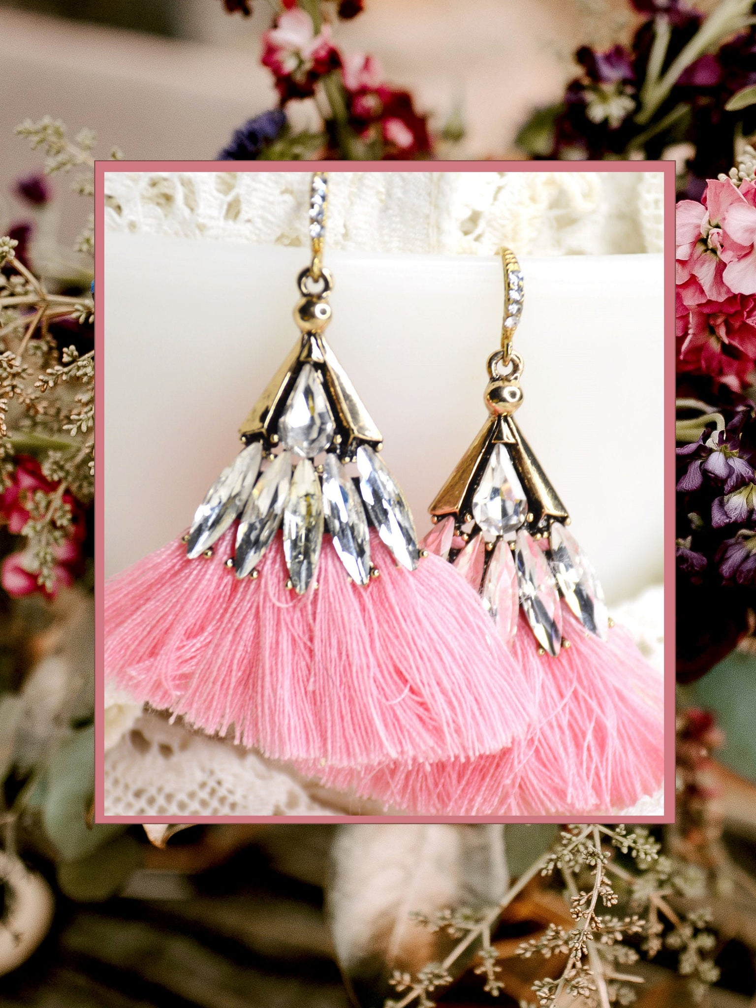 gold rhinestone earrings with pink fringe