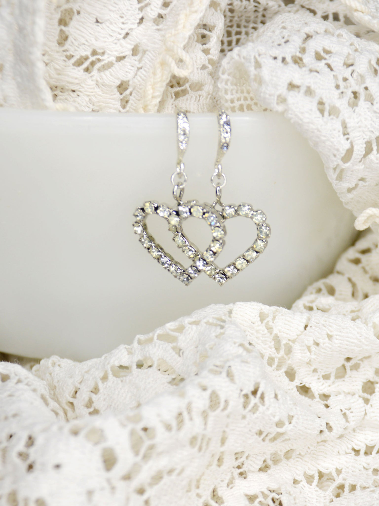 crystal heart silver wedding earrings