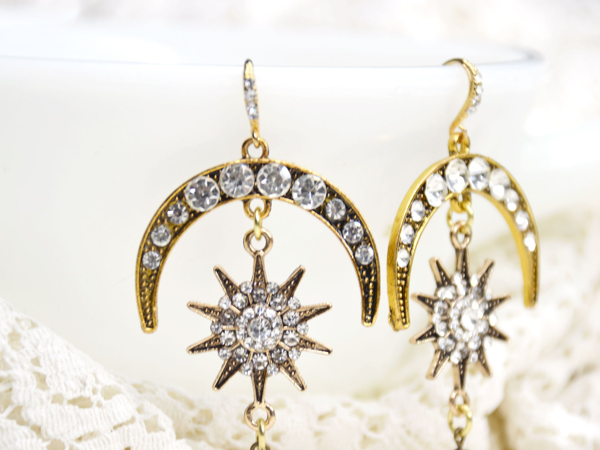 long gold and rhinestone chandelier wedding earrings
