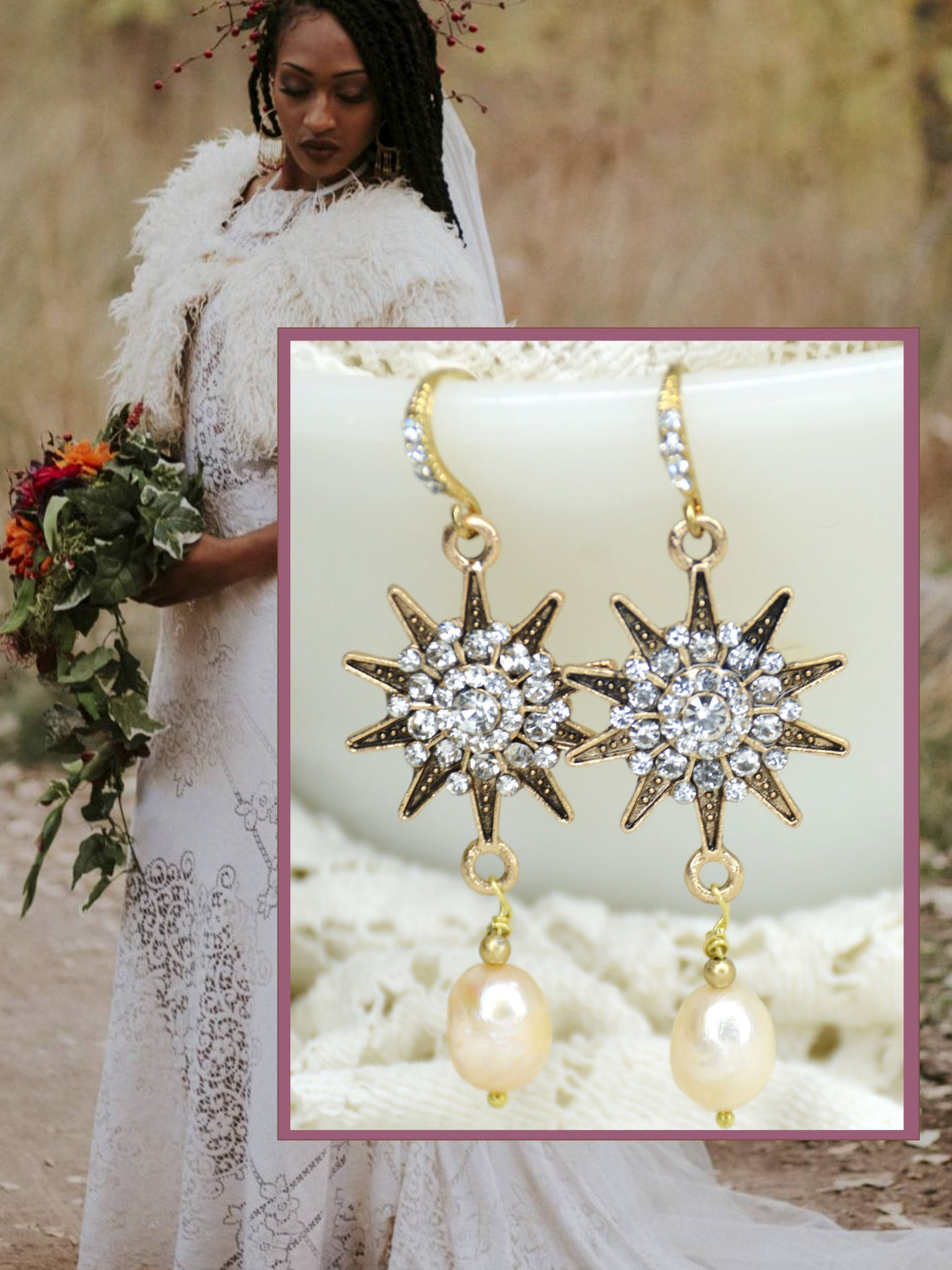 gold wedding drop earrings with stars and pearls.