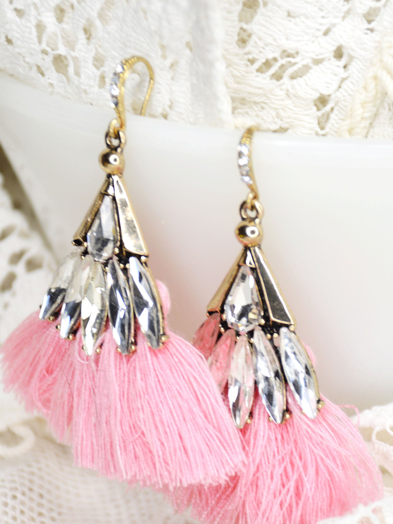 gold and pink fringe rhinestone bridal earrings