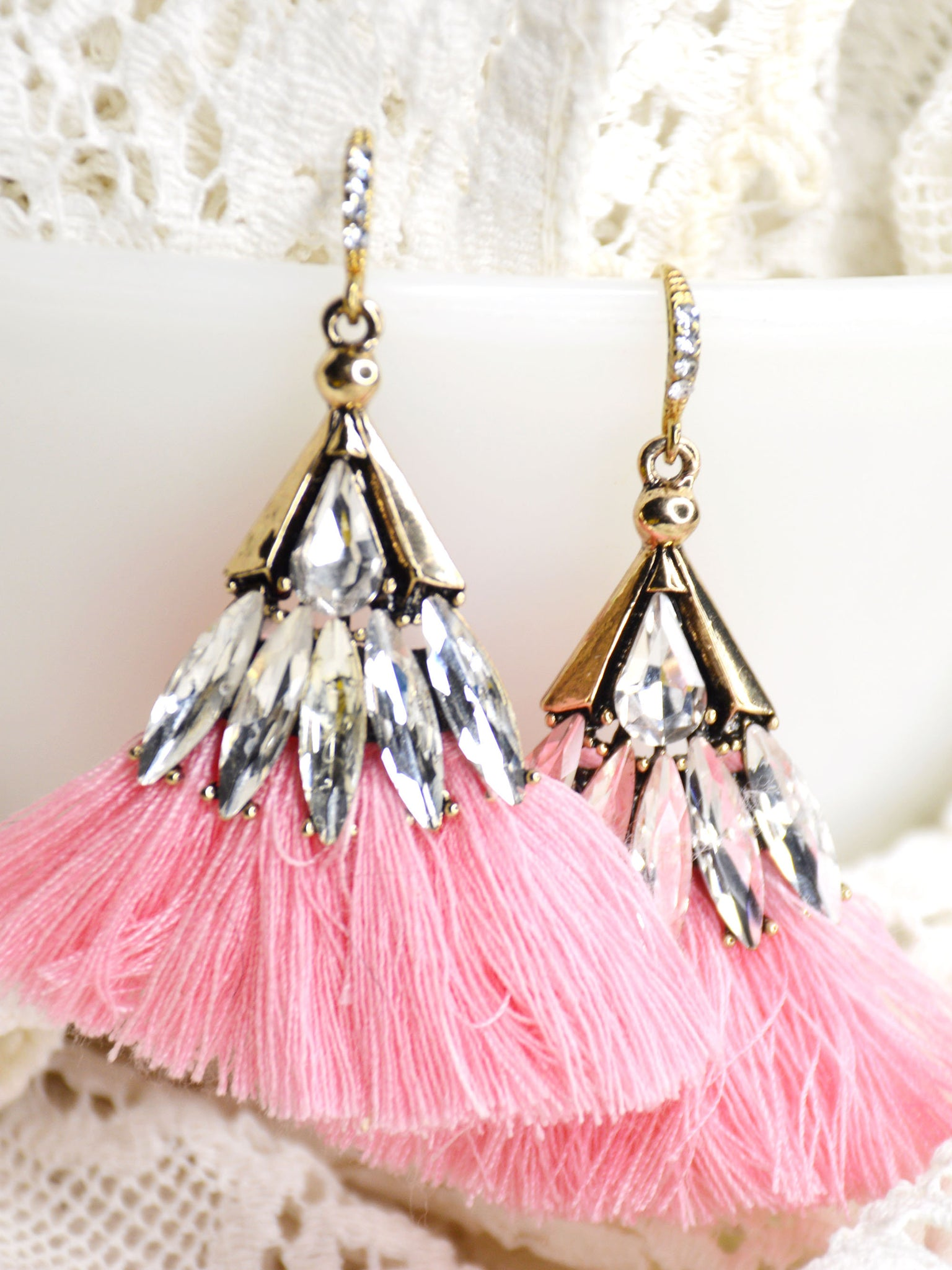 pink fan tassel earrings with crystals