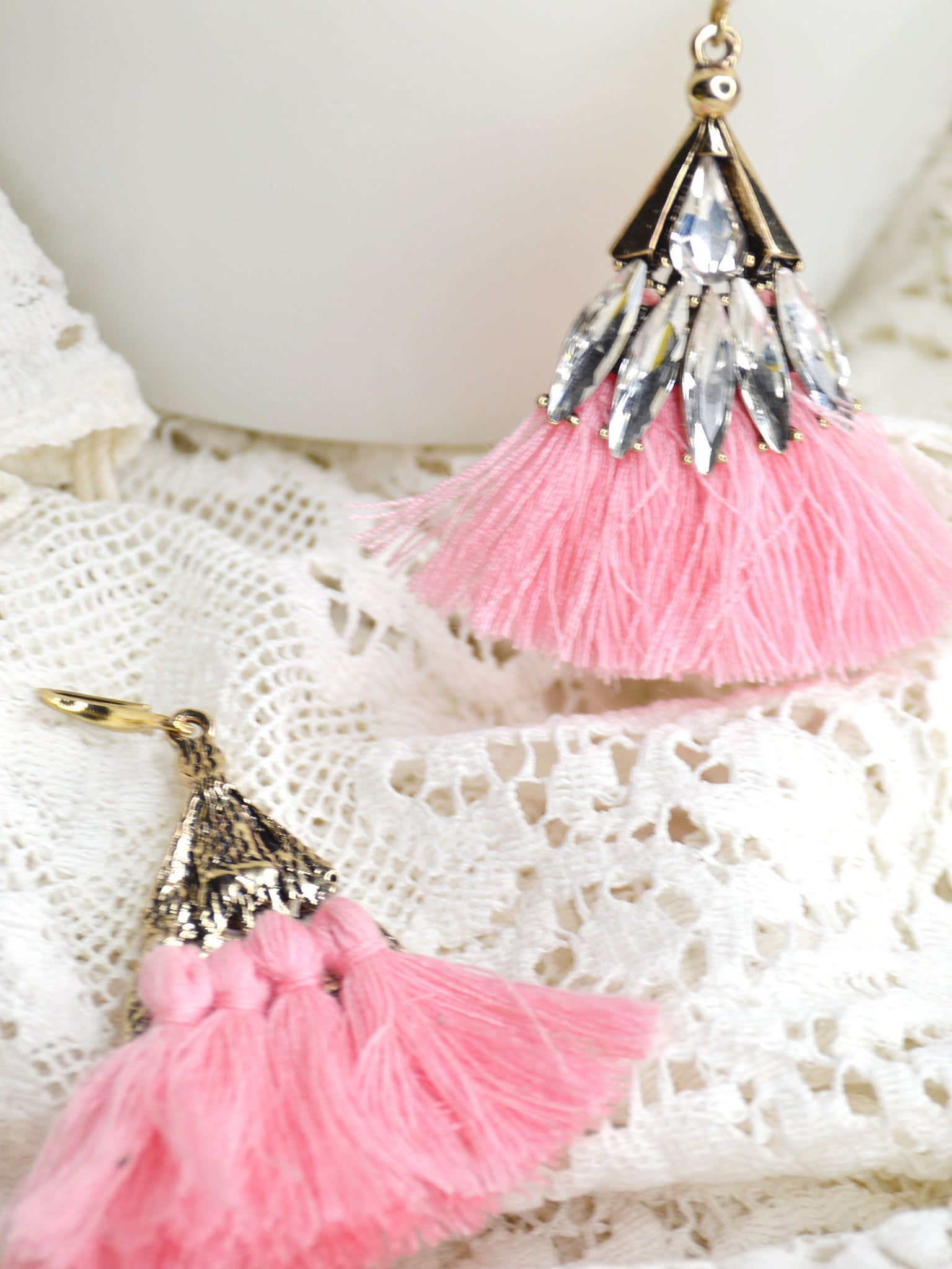 long pink and gold fan tassel wedding earrings