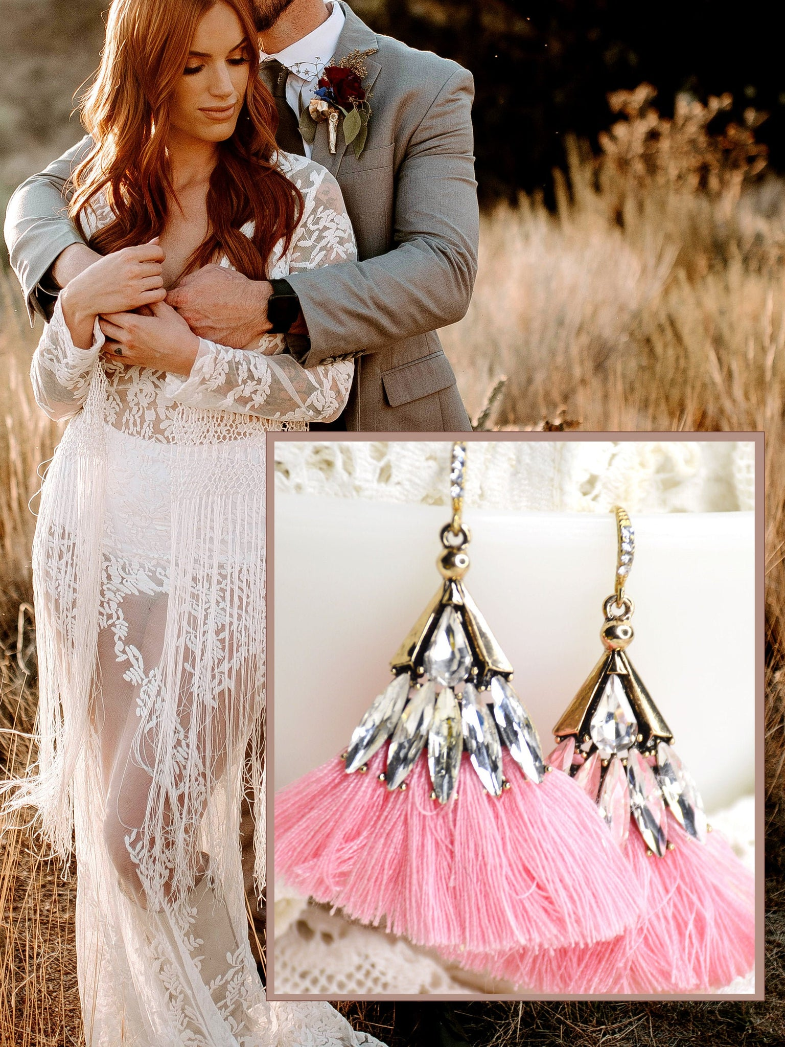 bohemian bridal earrings in pink, gold, and clear crystal