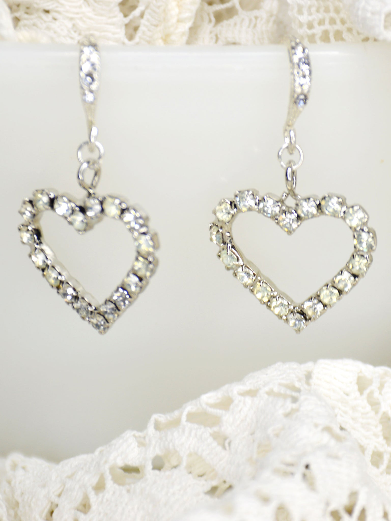 silver and crystal heart wedding earrings