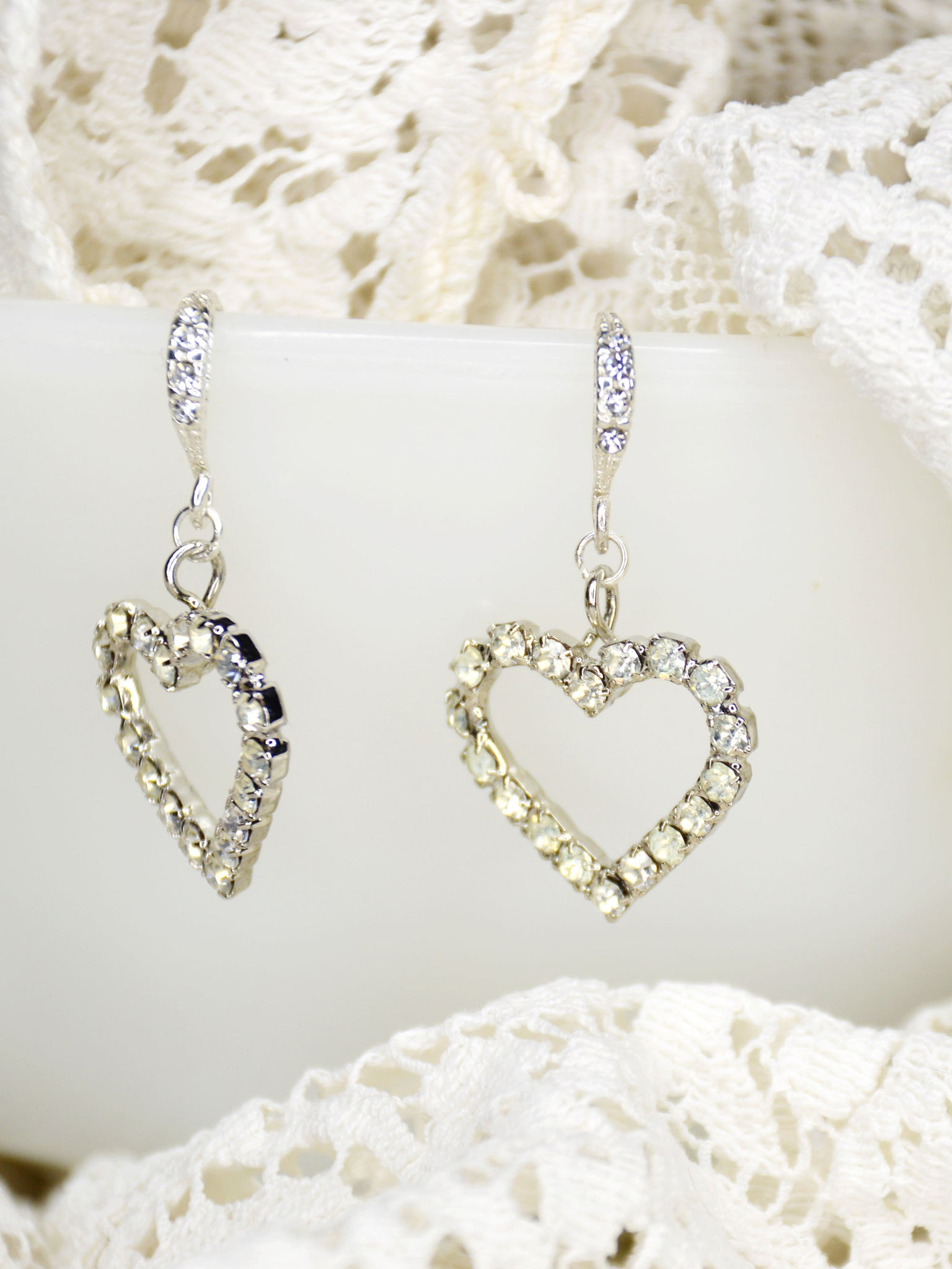 rhinestone cubic zirconia heart wedding earrings