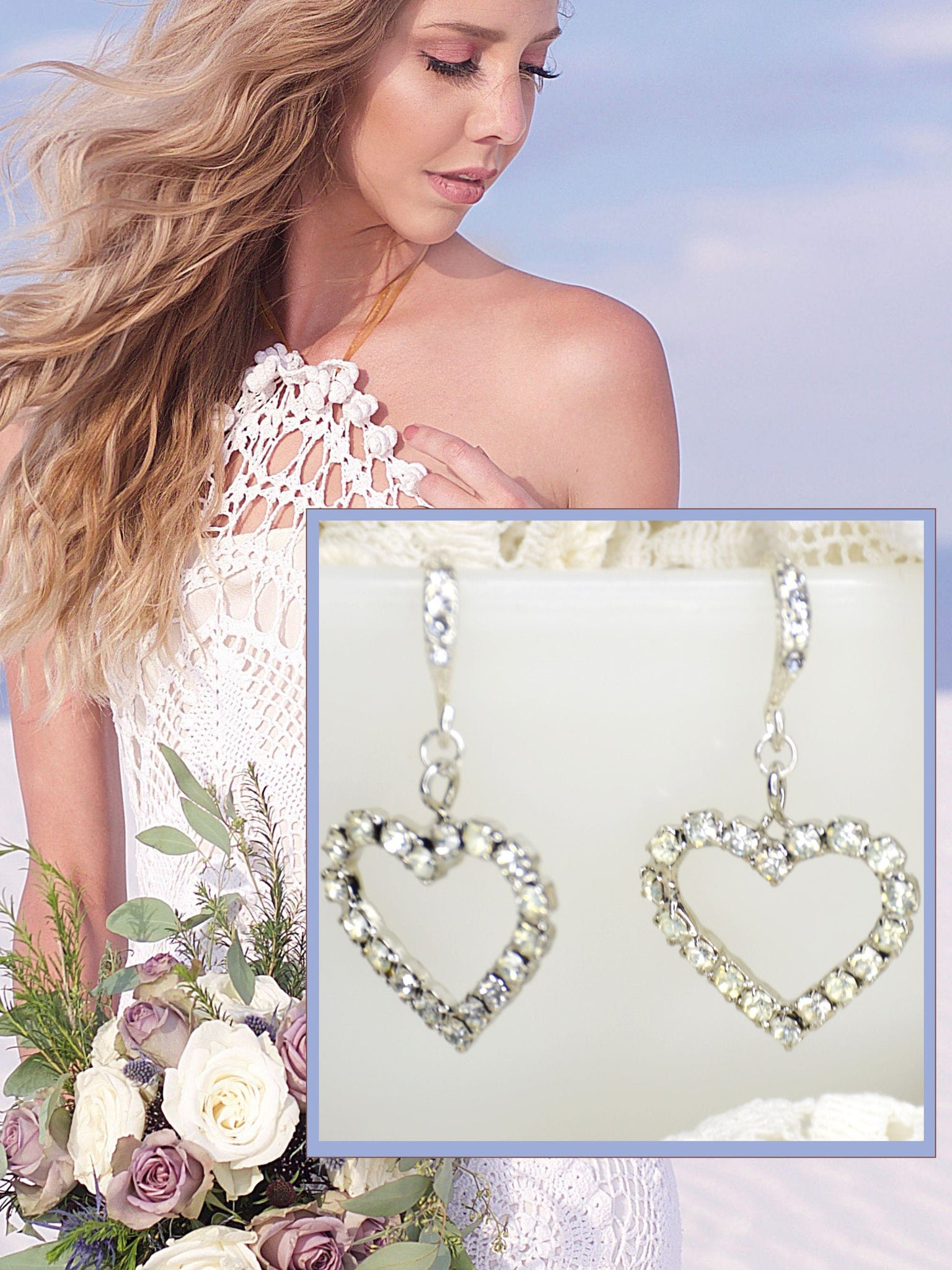 dangle earrings with crystals and heart for brides