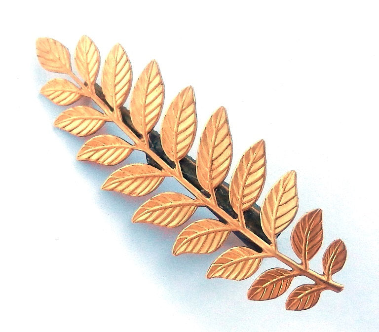 gold barrette branches leaves.