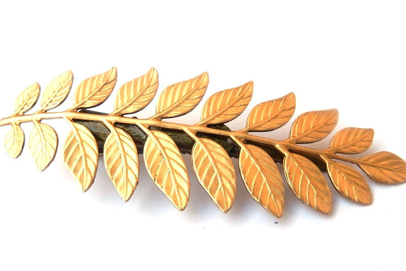 silver leaves goddess barrette hair clip