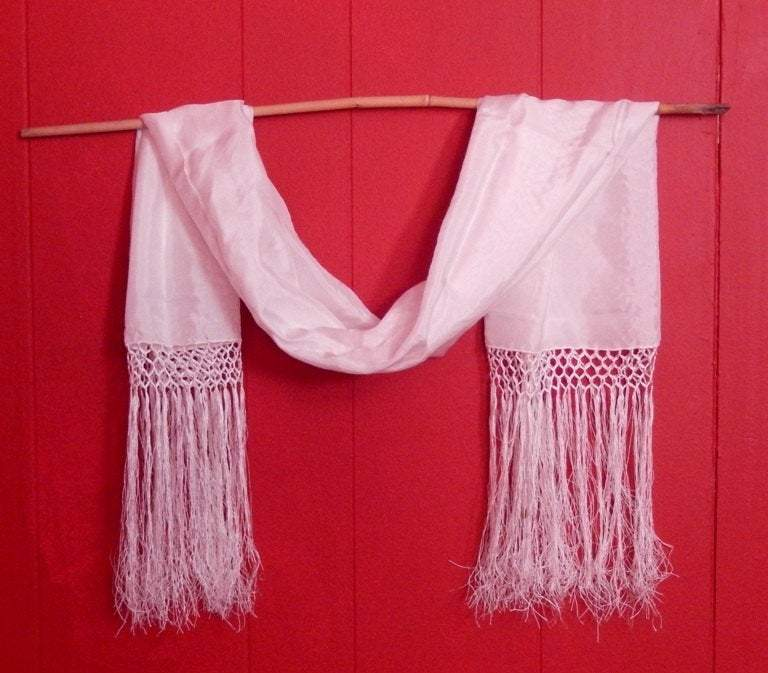 white silk fringe wedding shawl