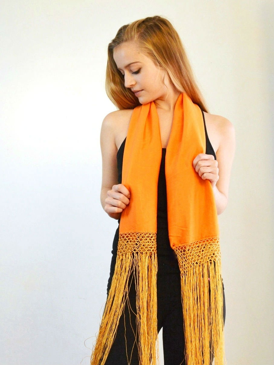 pumpkin colored silk scarf with long fringe