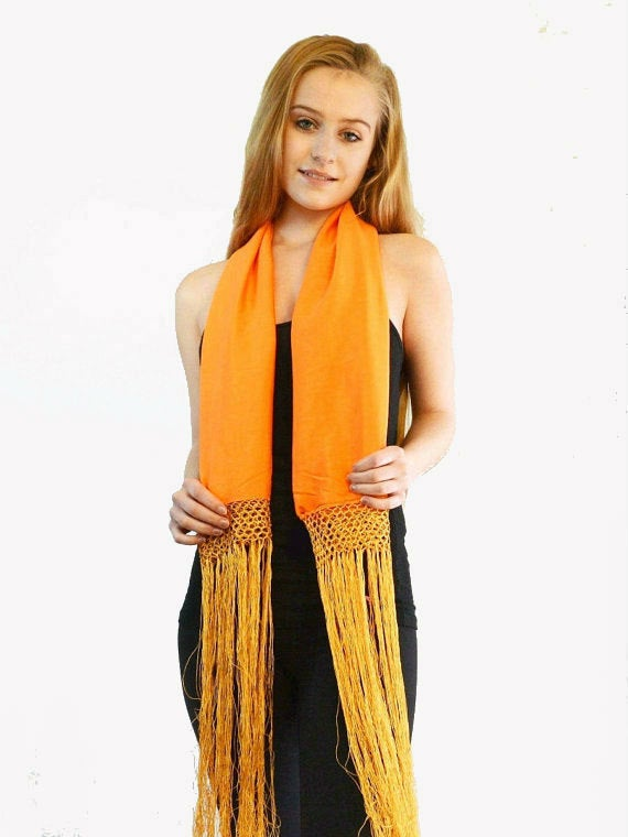 long orange silk fringe scarf on beautiful model