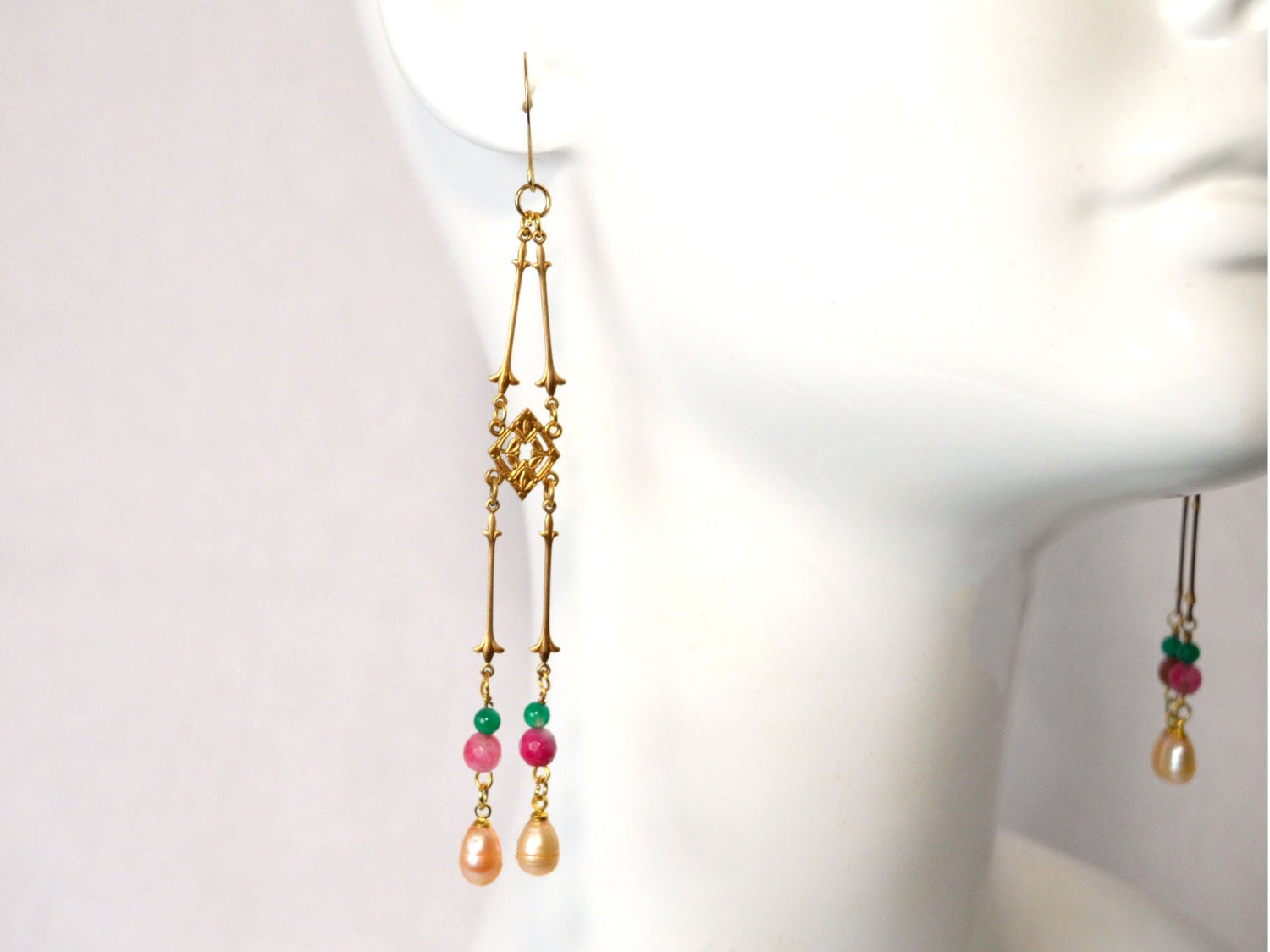 Boho style gold drop pearl earrings