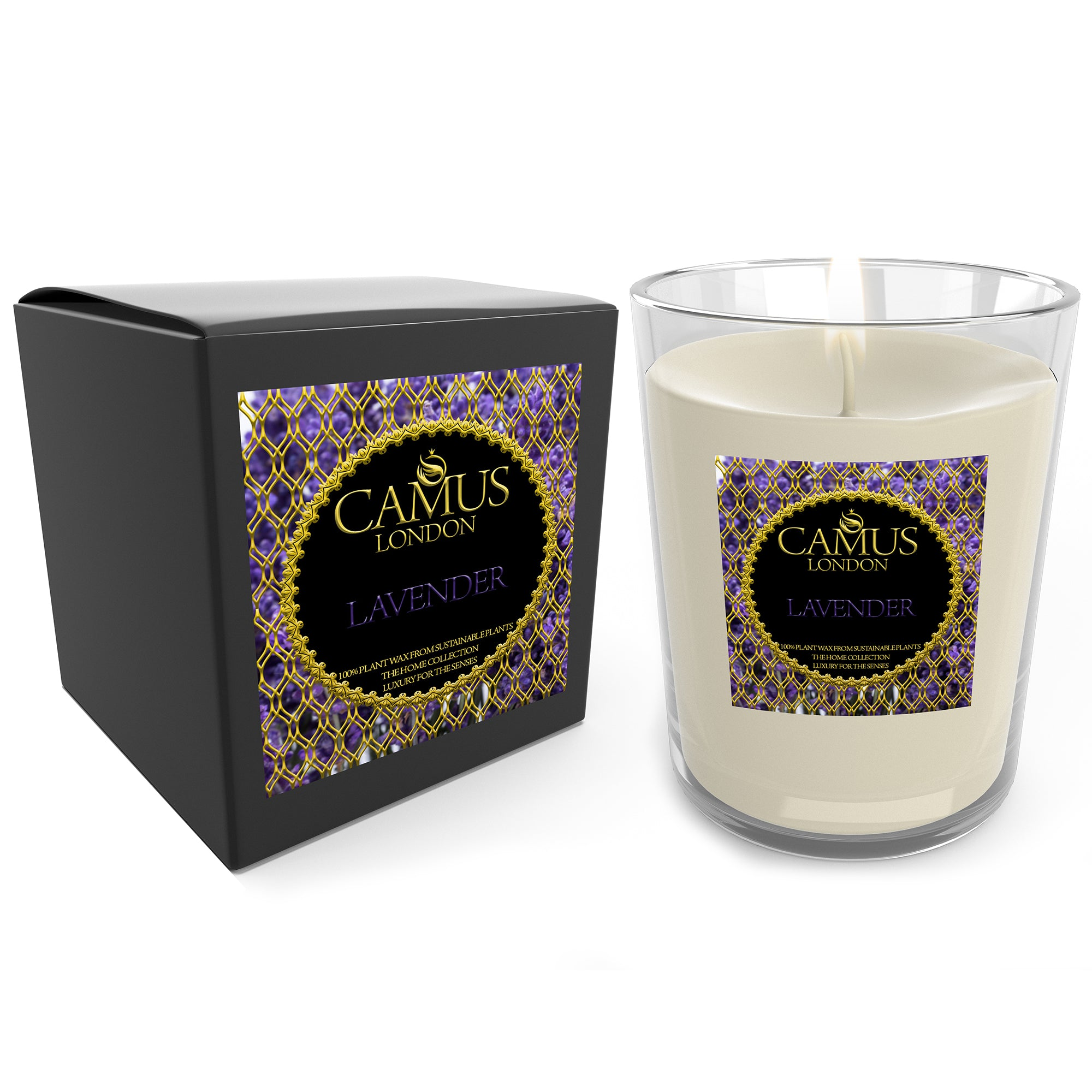 The Home Collection Essential Oil Lavender Luxury Candle 100% Plant Wax