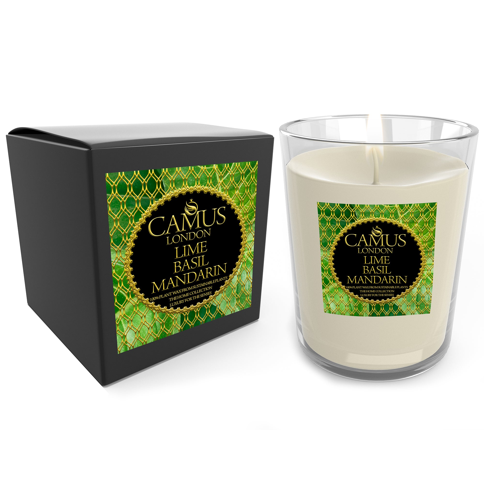 The Home Collection Essential Oil Lime Basil Mandarin Luxury Candle 100% Plant Wax