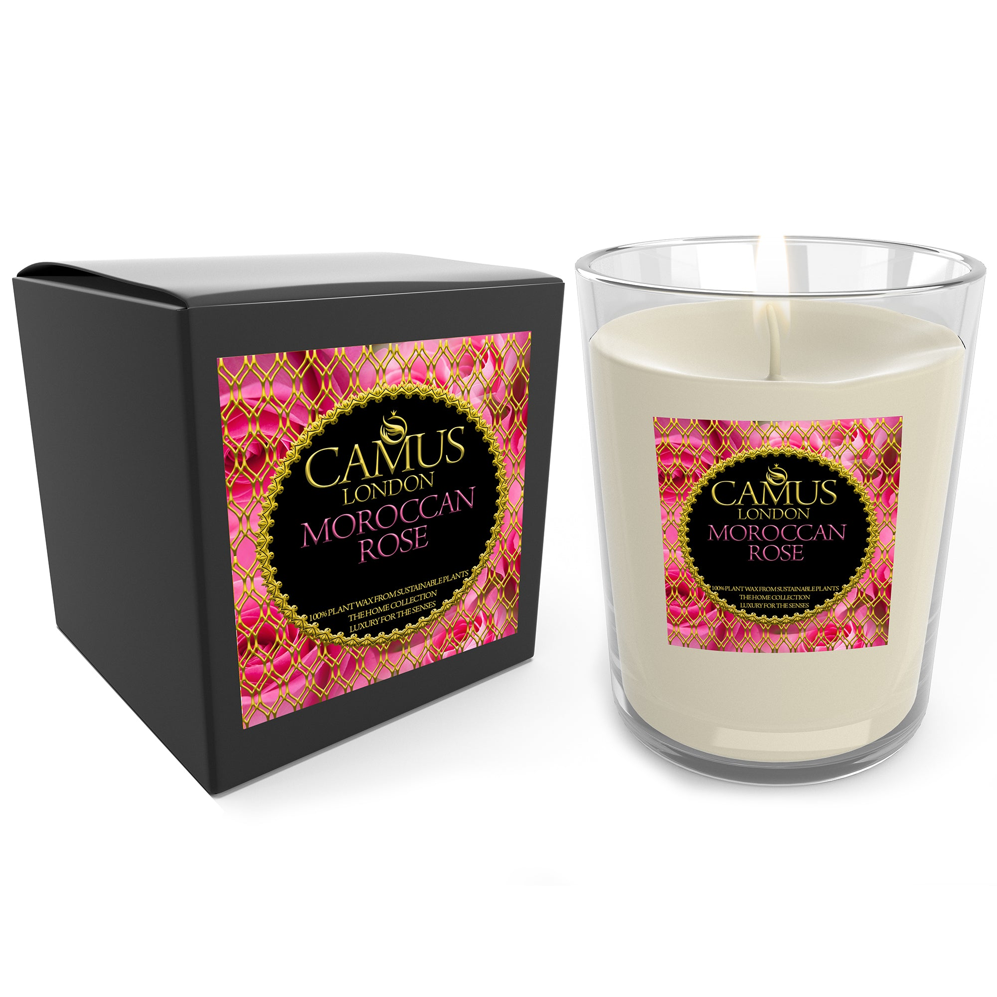 The Home Collection Essential Oil Moroccan Rose Luxury Candle 100% Plant Wax