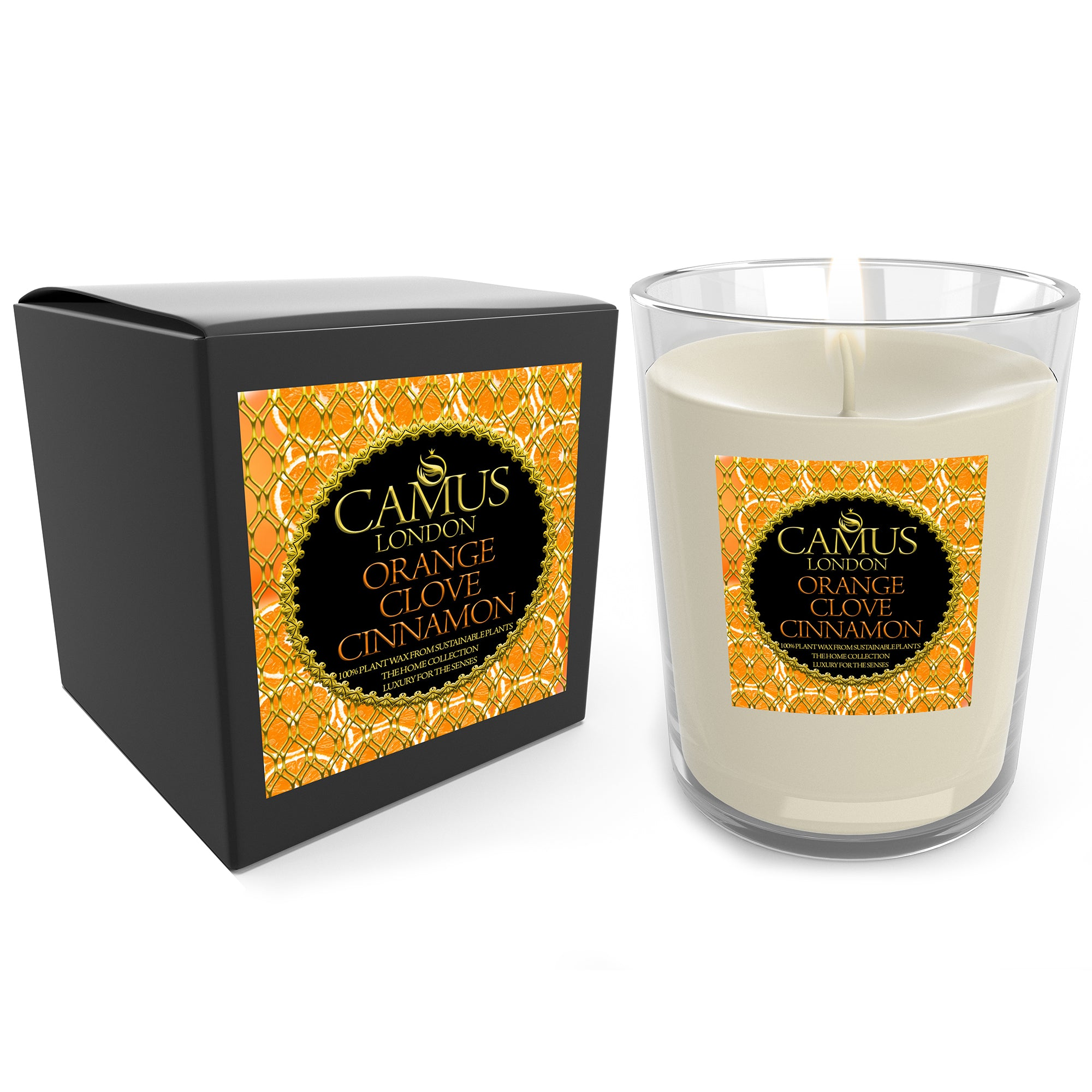The Home Collection Essential Oil Orange & Clove & Cinnamon Luxury Candle 100% Plant Wax