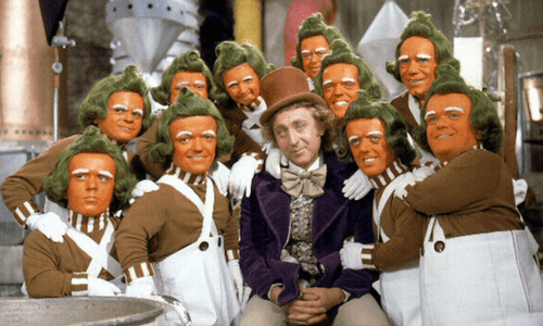 Willy Wonka with Oompa Loompas Candy District
