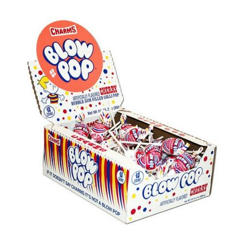 Charms Cherry Blow Pop Lollipops with Bubble Gum Center 48CT-Suckers-Candy Canada