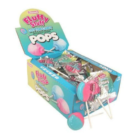 Charms Fluffy Stuff Cotton Candy Lollipops - Box of 48