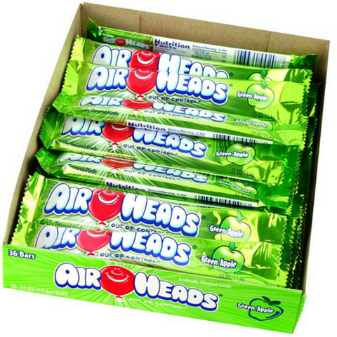 Airheads Taffy Candy Bars - Green Apple