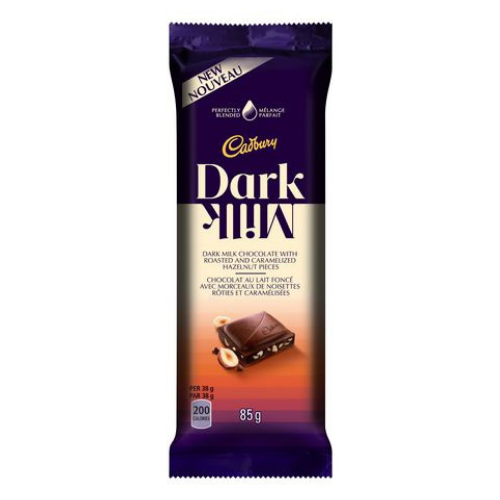 Cadbury Dark Milk Chocolate with Roasted and Caramelized Hazelnut Pieces