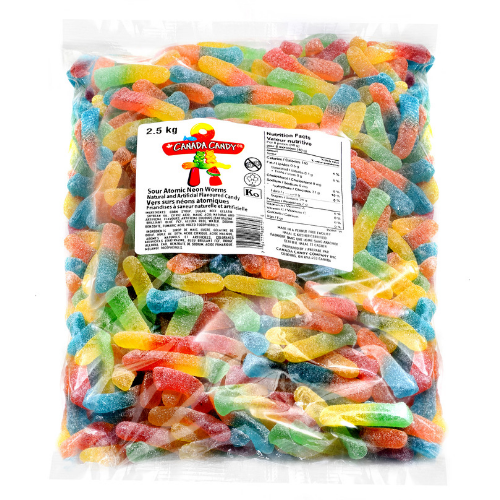 Canada Candy Sour Atomic Neon Worms Bulk Candy