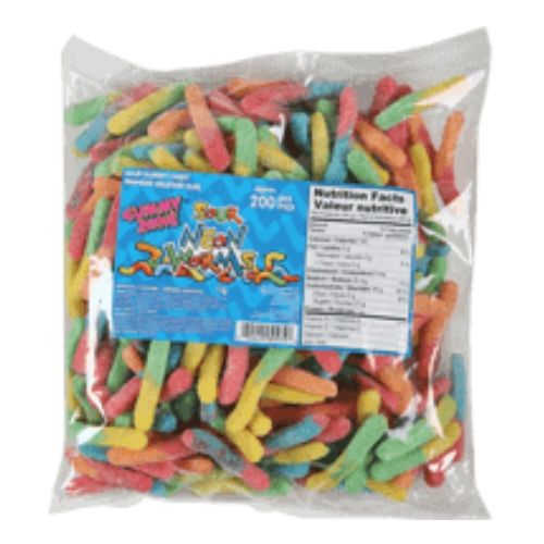 Gummy Zone Sour Neon Gummy Worms-1 kg