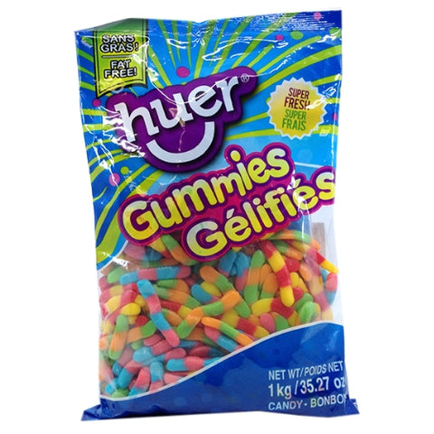 Huer Sour Neon Worms Gummy Candy-1 kg
