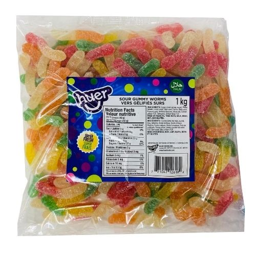 Huer Sour Gummy Worms Halal Candy-1 kg | Candy District