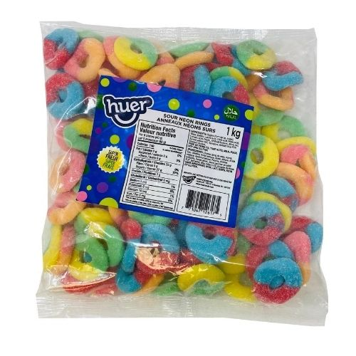 Huer Sour Neon Rings Halal Candy-1 kg | Candy District