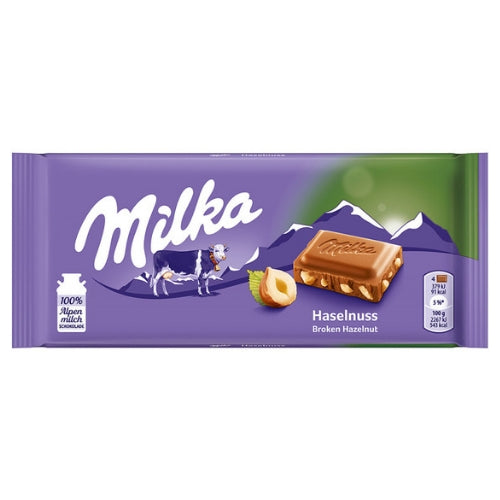 Milka Hazelnuts European Chocolate Made with Alpine Milk