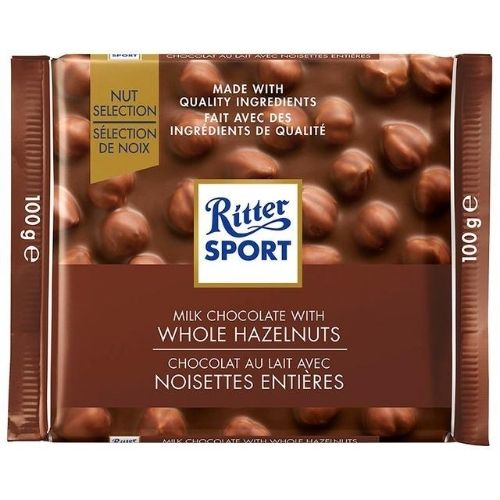 Ritter Sport Milk Chocolate With Whole Hazelnuts - 100 g