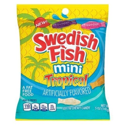 Swedish Fish Mini Tropical Soft & Chewy Candy  - Candy from the 60s