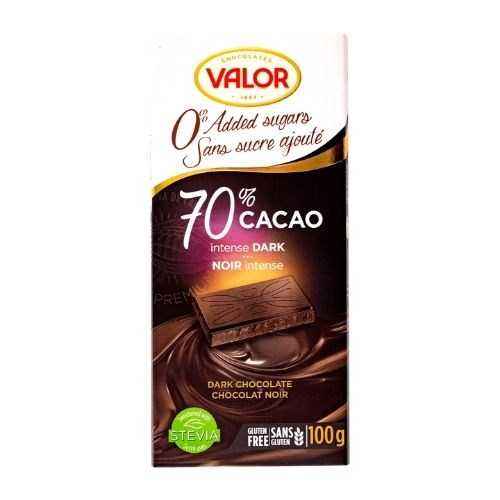 Valor 70% Cacao Intense Dark - No Sugar Added - 100 g
