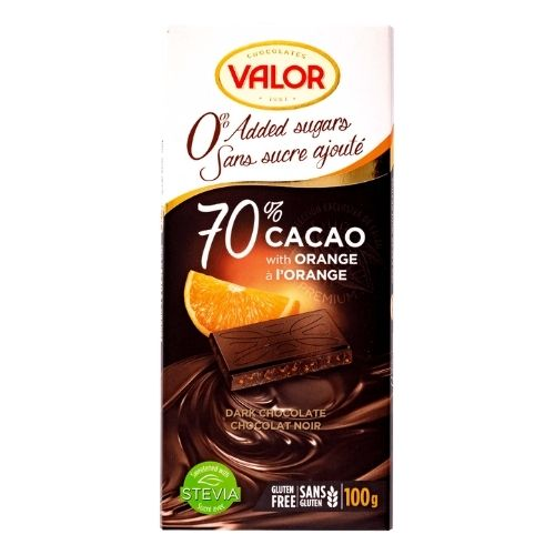 Valor 70% Cacao with Orange - No Sugar Added - 100 g