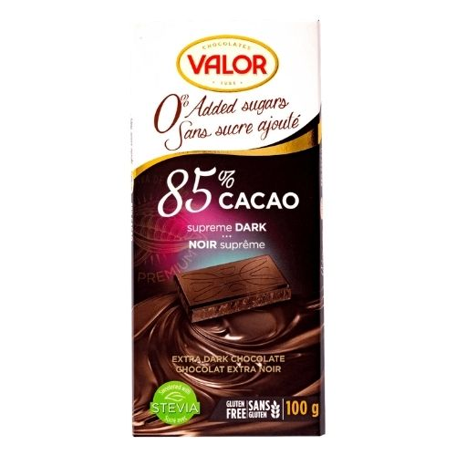 Valor 85% Cacao Supreme Bark - No Sugar Added - 100 g