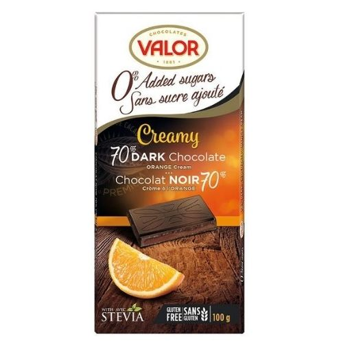 Valor Creamy 70% Dark Chocolate Orange Cream - No Sugar Added - 100 g