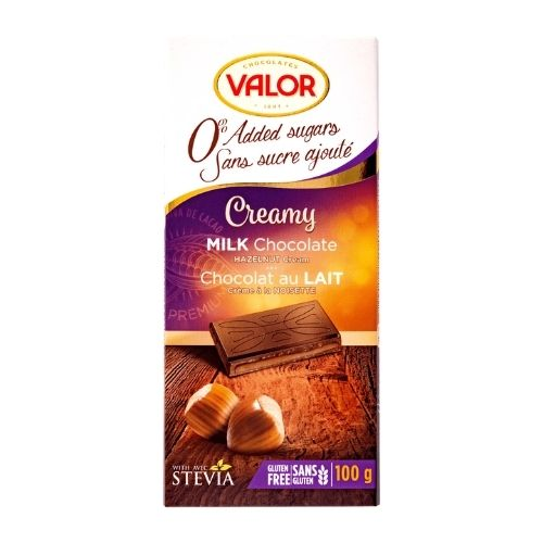 Valor Creamy Milk Chocolate Hazelnut Cream - No Sugar Added - 100 g