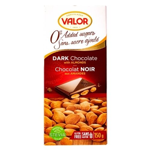Valor Dark Chocolate with Almonds - No Sugar Added - 100 g